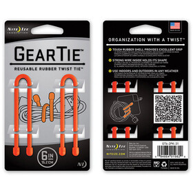 "Nite Ize Gear Tie Strap 2-Pack 6"" Bright Orange (GT6-2PK-31)"
